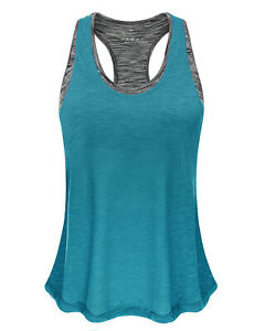 Fafair-Women-039-s-Yoga-Shirts-with-Sports-Bra-Workout-Tank-Tops-Gym-Pilates