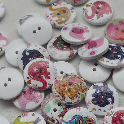 New 10/50/100/500pcs Elephant Wood Buttons 20mm Sewing Craft Mix Lots Upick