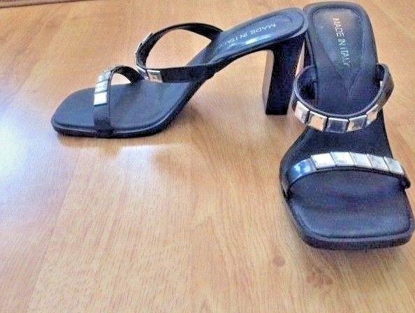 Women's Italian high heel Size black embellished sandals with rhinestones. Size heel 39 705c32