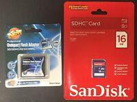 Sandisk 16gb Sd + Shopdigi Sdhc/sdxc To Cf Type Ii Adapter