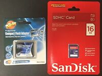 Sandisk 16gb Sd + Shopdigi Sdhc/sdxc To Cf Type Ii Adapter
