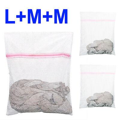 3 x Zipped Laundry Washing Mesh Bags Net Socks Underwear Wash 1 Large 2 Medium