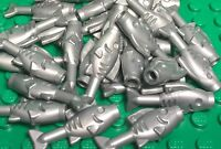 Lego Bulk Flat Silver Gray Fish X25 Pieces / Sea Animal / Foods Lot