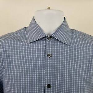 John-Varvatos-USA-Slim-Fit-Mens-Blue-Check-L-S-Dress-Button-Shirt-Sz-Medium-M
