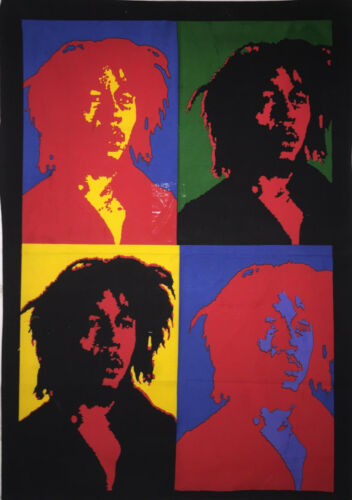 Indian Small Tapestry Bob Marley 4 Face Design Poster Cotton Fabric Wall Hanging