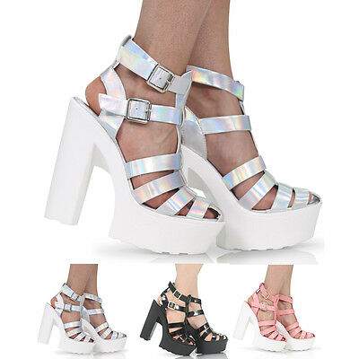 WOMENS HIGH HEEL CHUNKY PLATFORM CUT OUT CLEATED SOLE SANDALS SHOES SIZE