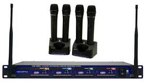 vocopro uhf 5805 4 rechargable wireless 4 ch handheld microphone system w case ebay. Black Bedroom Furniture Sets. Home Design Ideas