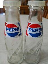 Pepsi Cola Miniature Glass Soda Bottle Salt & Pepper Shaker Advertising Set