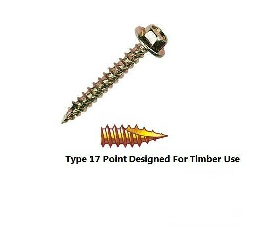 Qty 10 Hex Timber Self Drilling 10g-12 x 25mm Zinc Yellow T17 Screw Driller Tek