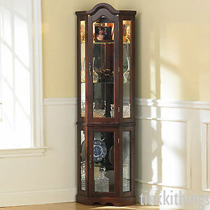 tall corner glass cabinet shelves storage living room display