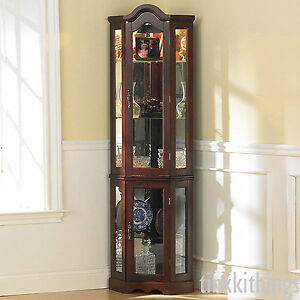 Details about Tall Corner Glass Cabinet Shelves Storage Living Room Display  Organizer w Light