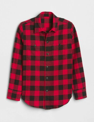 NEW GAP Mens Flannel Red Black Buffalo Check or Plaid Button Down Shirt M 40 $59