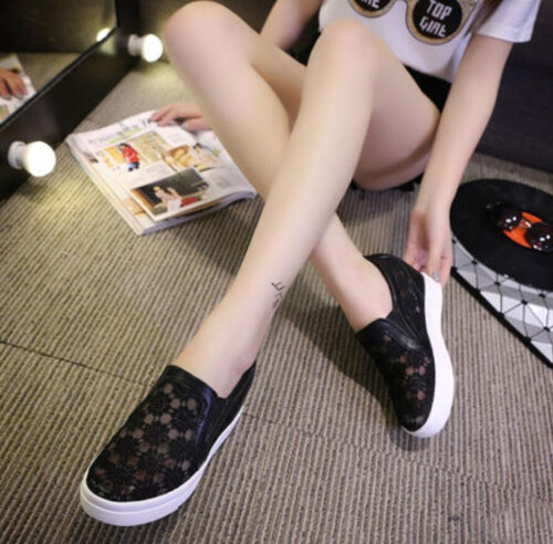 New Fashion Women/'s Lace Hidden Wedge High Top Sneakers Athletic Confortable Chaussures 2018