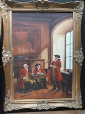 Oil Painting on Canvas 18th Century British Imperial Redcoat Army or Noble Men