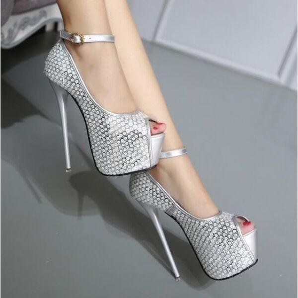 sandalias de aguja mujer talón 16 cm elegantes tacón de aguja de plataforma plata como 3e2534