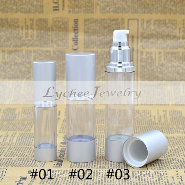 DIY Empty Airless Pump Lotion Bottles Portable Clear Silver Travel Free Shipping