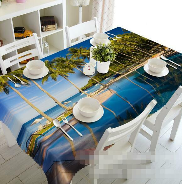 3D Lake Tree 4 Tablecloth Table Cover Cloth Birthday Party Event AJ WALLPAPER AU