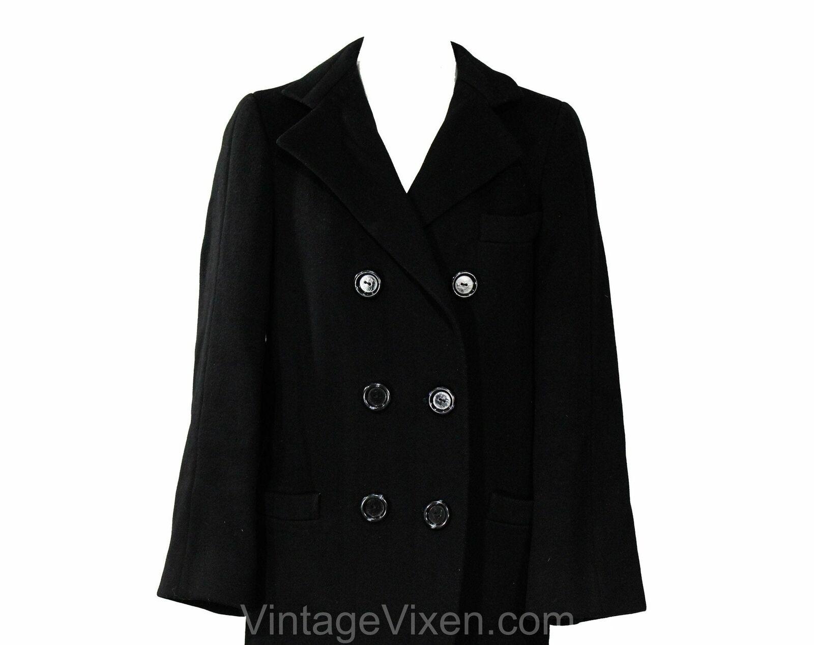 Size 10 Black Winter Coat - Elegant Designer 80s … - image 2