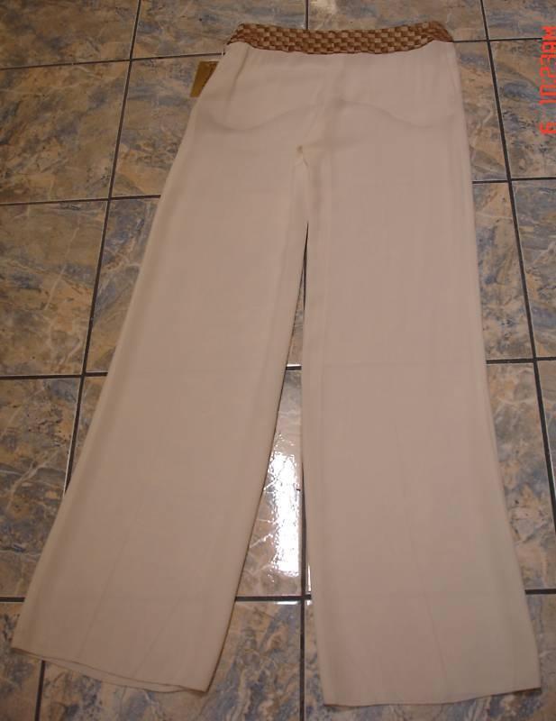 VALENTINO WIDE LEGS WHITE BRAIDED BELT SILK PANTS 6