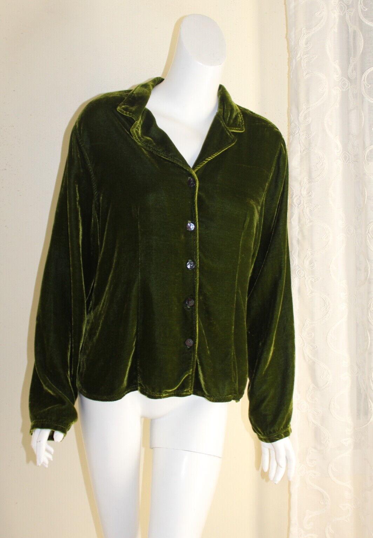 CMC -Farbe Me Cotton URANINUM Grün Velvet RICH Boho Hemd Blouse Sz XL ARTSY