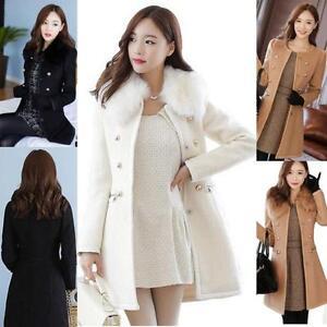 Slim-Fur-Collar-lONG-Coat-Women-Winter-Wool-Jacket-Trench-Parka-Outwear-Overcoat