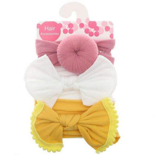 3Pcs Baby Girls Bow Noeud Élastique Bandeau Turban Enfant Cheveux Bande Bandeau