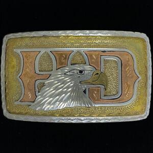 Rare German Silver Motorcycle Biker Gift Eagle Western NOS Vintage Belt Buckle