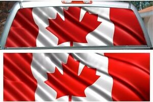 Canadian Flag Rear Window View Thru Graphic Decal Wrap EBay - Rear window decals for trucks canada