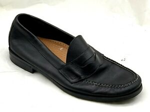 Bass-Martin-Mens-black-leather-slip-on-dress-penny-loafers-shoes-sz-11D-44