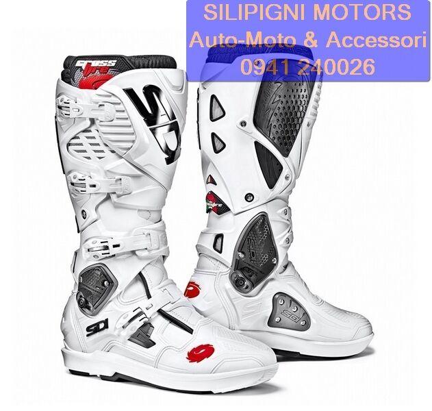 SIDI CROSSFIRE 3 SRS BIANCO/BIANCO White Stivali Moto Cross Enduro Off Road