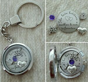Sister I Love You Personalised Memory Locket Floating Charms Gift keyring