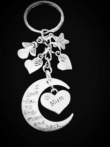 Mum-034-I-Love-You-To-The-Moon-and-Back-034-Crescent-Charm-KEYRING-Hearts-amp-Gift-Box