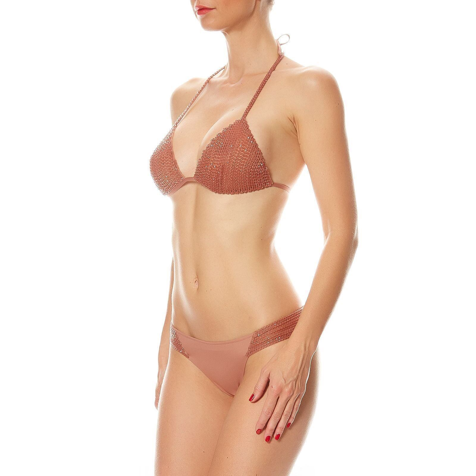 La Perla Glimmering Beach Beige Beaded Bikini Bra & Brief Set - Size IT 46
