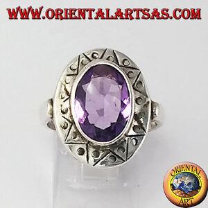 Anello-d-039-argento-con-Ametista-naturale-sfaccettata-ovale-con-bordo-cesellato
