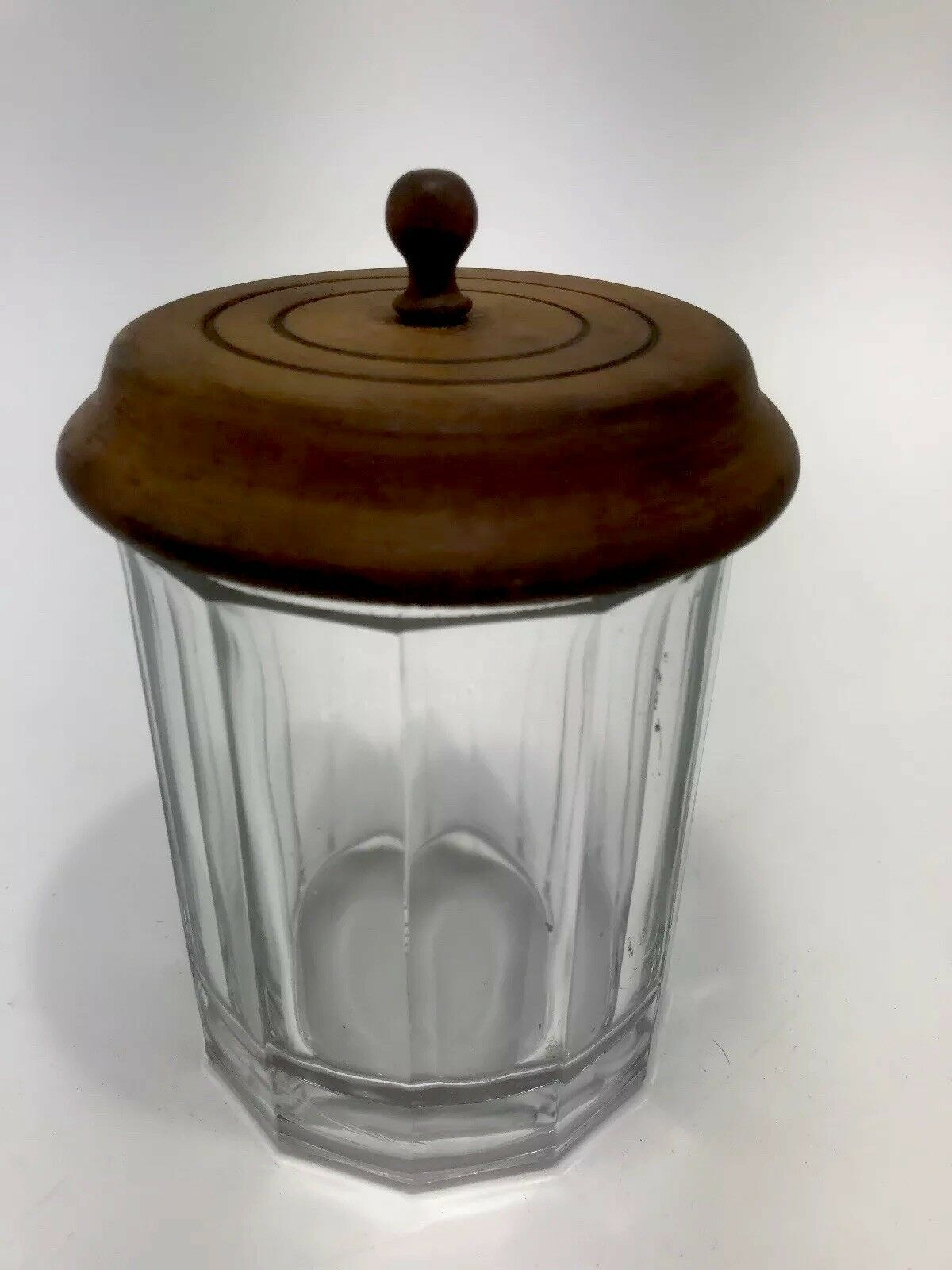 Vintage 1950/'s Ribbed Leaded glass Tobacco Humidor with Sailing Ship and Rudder LidNautical