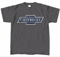 Chevrolet Chevy Bowtie Wooden Logo Distressed Men's T-shirt 100% Cottonlicensed