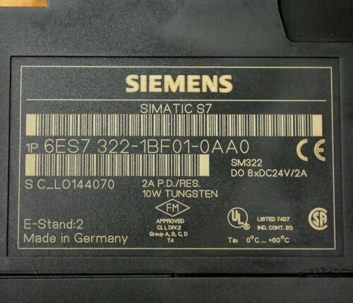 Siemens 6ES7322-1BF01-0AA0 Simatic S7 Output Module USED