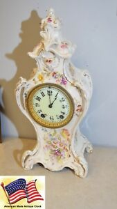 Restored Seth Thomas Beta-1896 Fine Porcelain Case Antique Mantle Clock Antique (pre-1930)
