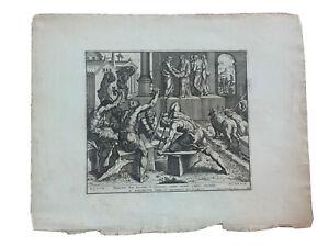 1674 Raphael Petrus Aquila Vatican Bible Salomon etching Stonemason Old Master