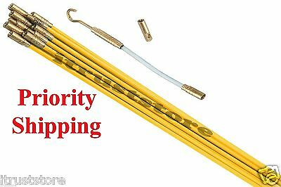 Fiberglass Cable Running Rods Kit Fish Tape Electrical Wire Coaxial Puller