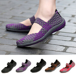 Women-039-s-Elastic-Flats-Shoes-Ladies-Comfort-Breathable-Casual-Knit-Slip-On-Shoes