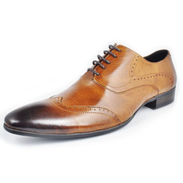 Fulinken Genuine Leather Men Oxford Brogue Slip On Boots Formal dress Shoes
