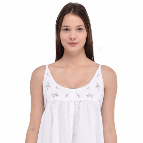 Plus Size Ladies Embroidered White Cotton NightdressCotton Lane