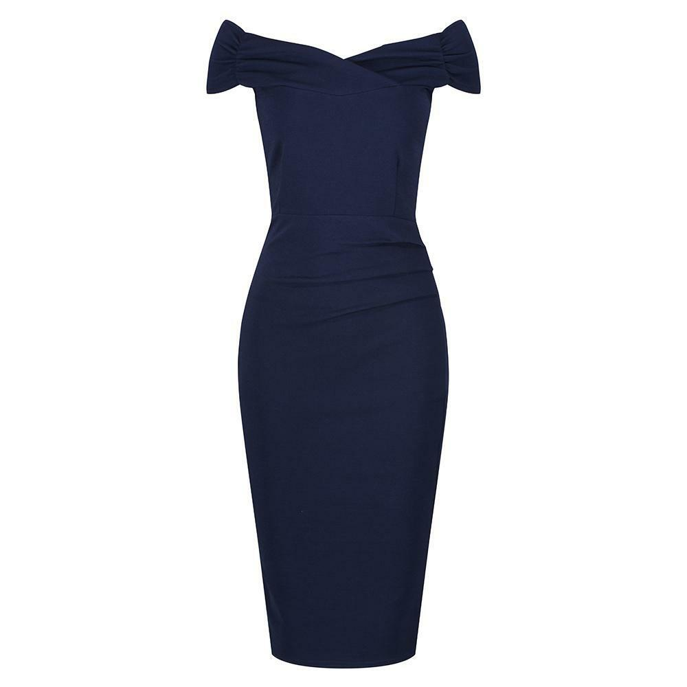 Marineblue Flügelärmel Gekreuztes Top Bardot Wiggle-Dress