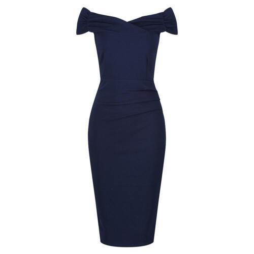 Vintage 1940s Navy Blue Cap Sleeve Crossover Top Bardot Wiggle Dress UK 8-18