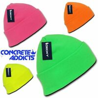 Neon Fluorescent Knit Cuff Beanie Hat Skull Snowboard Winter Warm Ski Hats