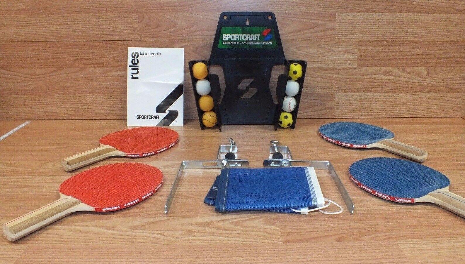 Genuine Sportcraft (19008) Ping Pong, Table Tennis, 4 Paddles & 8 Balls READ