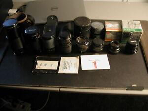 SLR-Lens-lot-of-8-Zoom-Sakar-Kiron-Vivitar-Rokinon-Rokunar