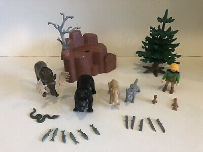 Expressief Playmobil 3228 Wild Animals Park Ranger Tree Bear Moose Wolf Knives 80% Complete Shrink-Proof