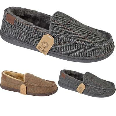 34dd47c8680502 Details about New Mens Warm Winter Cosy Slip On Winchester Tweed Moccasin  Slippers Shoes Sizes